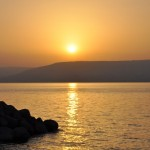 Sea of Galilee at dawn. Sea is really a large lake.