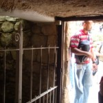Looking out from inside the tomb of Jesus.