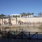 Jordan River in southern Israel. This is where John the Baptist baptized Jesus. The site is seen from the Jordan side of the river.