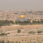 Temple Mount from the Mount of Olives. The gold is the Dome of the Rock.