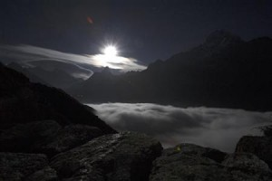 A view of Mount Everest is seen during moon rise from Syangboche